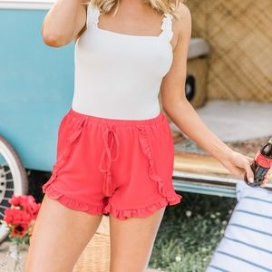 Pink Lily red ruffled shorts